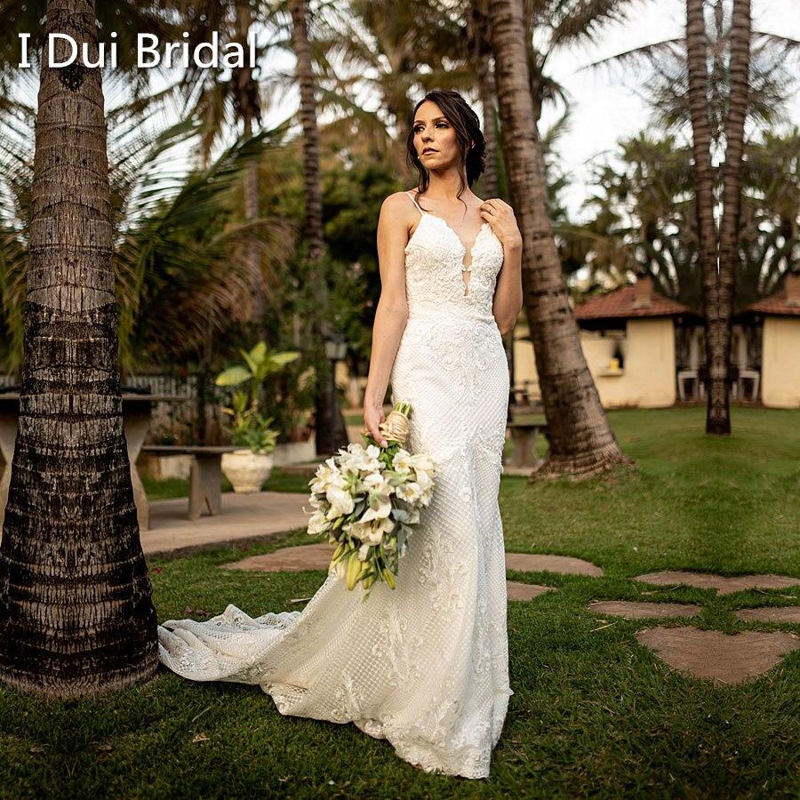 فستان زفاف فاخر على شكل حورية البحر ، أحزمة سباغيتي ، دانتيل ، جودة عالية ، تنظيف منخفض ، مثير ، ظهر منخفض ، فستان زفاف