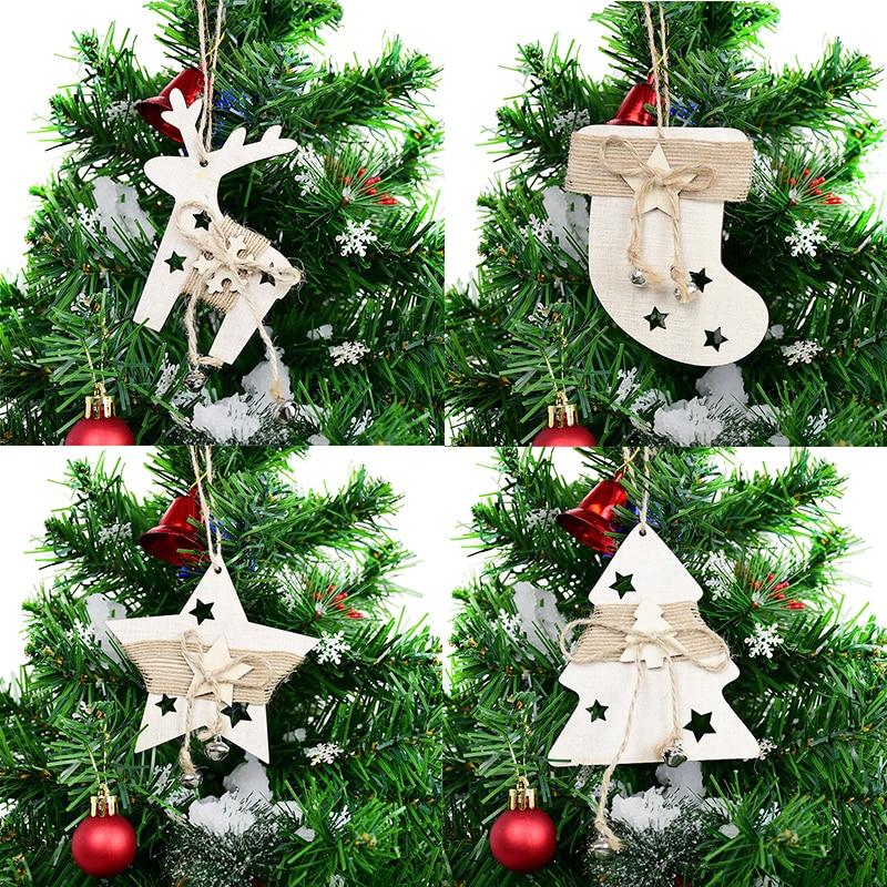 9cm drewniane drzewo łosia wisiorek w kształcie gwiazdy boże narodzenie wiszące ozdoby na choinkę ozdoby choinkowe dla domu 2020 Navidad Noel prezenty