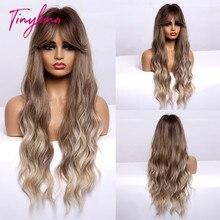 TINY LANA-Peluca de cabello sintético para mujer, cabellera artificial ondulado de cuerpo largo con flequillo, color marrón a rubio, resistente al calor, para Cosplay