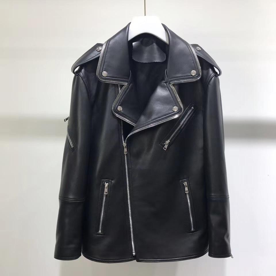 جاكيت راكب الدراجة النارية من جلد الغنم الأصلي للنساء ، موضة الربيع ، معطف راكب الدراجة النارية برشام ، 2020