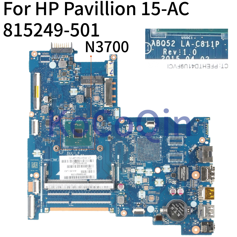 KoCoQin محمول لوحة رئيسية لأجهزة HP بافيليون 15-AC 250 256 G4 N3700 SR29E اللوحة 815249-001 815249-501 ABQ52 LA-C811P DDR3