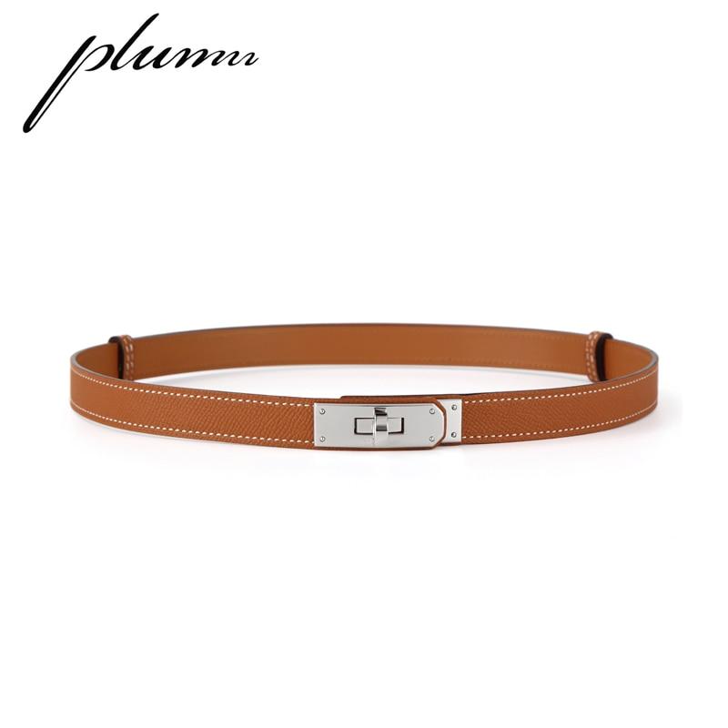 Plumn Ladies Belt Leather Simple Waist Lock Kelly H Buckle Belt Trousers