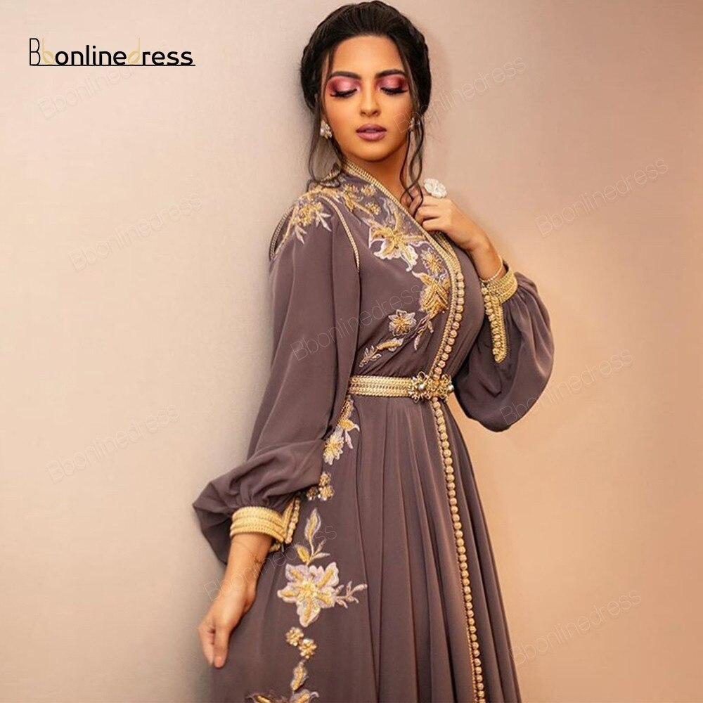 Vestidos de Noche de caftán marroquí Bbonlinedress, apliques bordados, vestido de noche largo con mangas, vestido musulmán árabe de talla grande