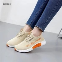 new style cloth shoes ladies breathable flying knitting shoes fashion womens shoes sports running flat soft bottom sports shoes