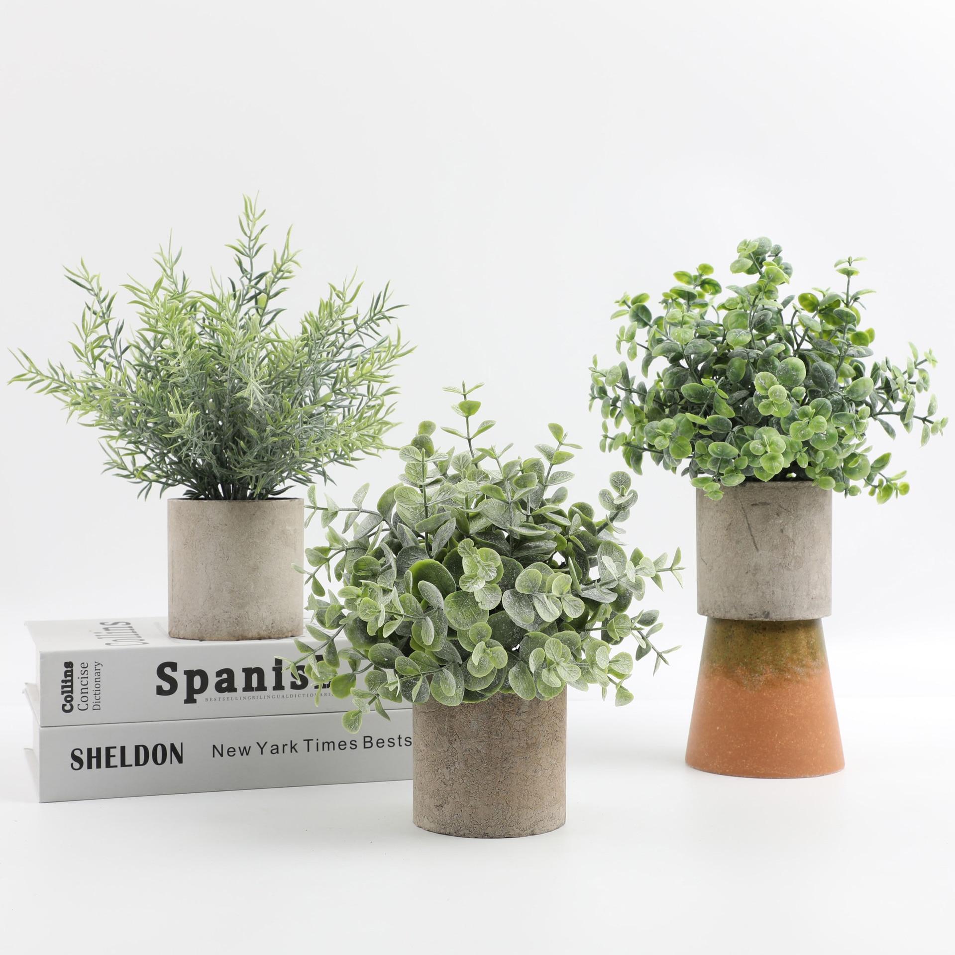Искусственные цветы, зеленые Горшки Бонсай, искусственные цветы, искусственные цветы для украшения дома, декоративные растения ручной рабо...