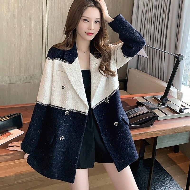 Женский твидовый блейзер в стиле пэчворк, черно-белый элегантный винтажный пиджак с длинным рукавом, верхняя одежда для осени, 2021