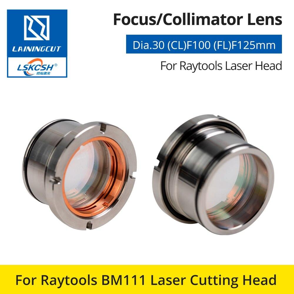 LSKCSH Raytools BM111 0-3KW Collimating & Focusing Lens D30 F100 F125mm con soporte para lente para Raytools cabezal de corte láser BM111