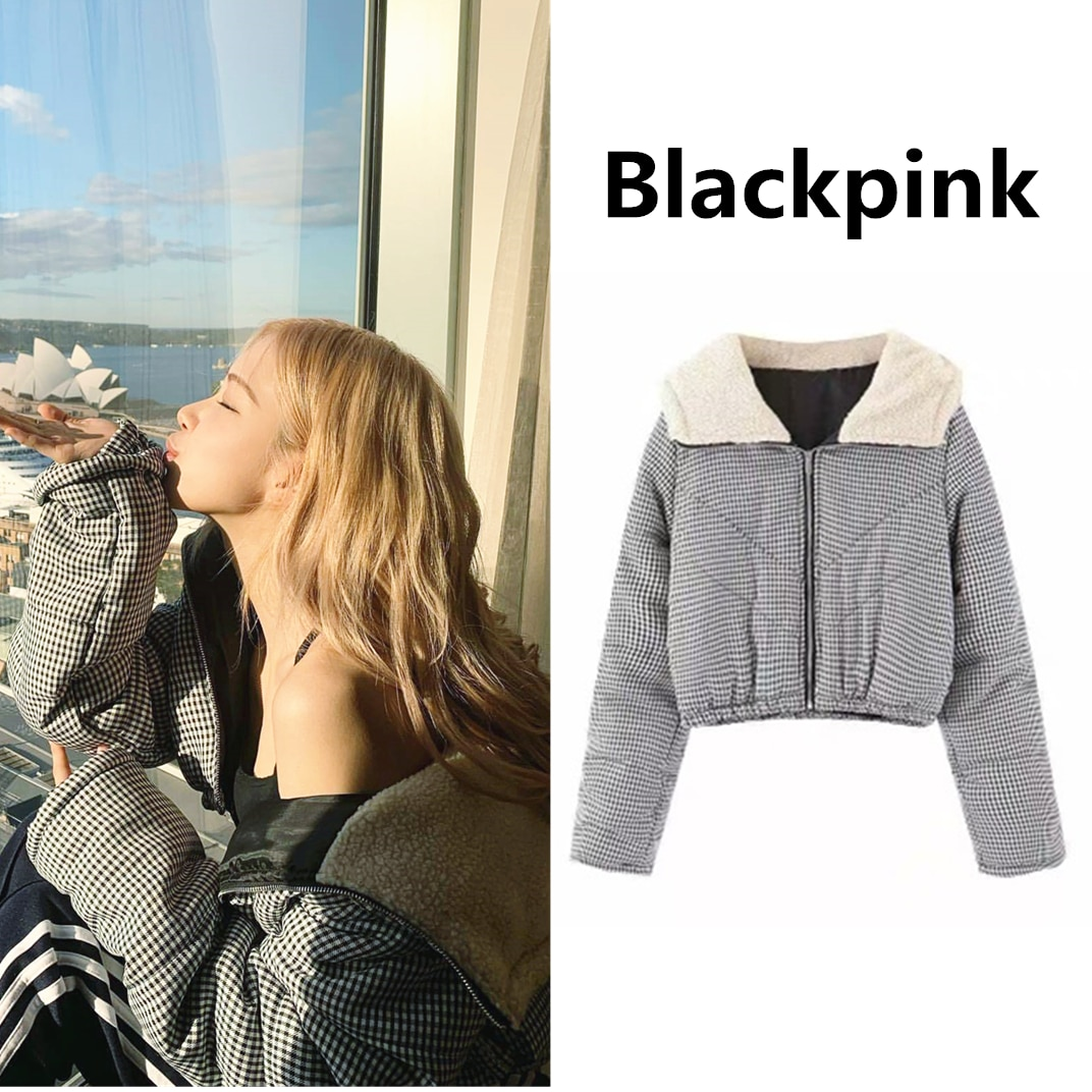 kpop Blackpink Rose 2020 black and white plaid hooded sweatshirt lady Winter new Plus thick warm short zipper hoodies women coat