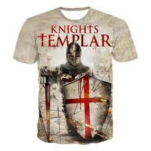 2021อัศวิน Templar เสื้อยืดผู้ชาย3D การพิมพ์เสื้อยืดอัศวิน Templar แฟชั่น Casual เสื้อยืด Hip Hop Harajuku Streetwear Tops