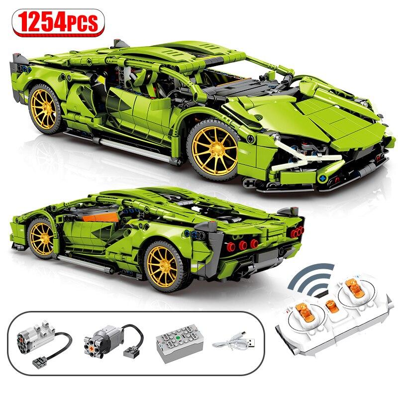 1254Pcs City MOC RC/non-RC Super Sports Car Remote Control Racing high-tech Vehicle Building Blocks Bricks Toys For Children