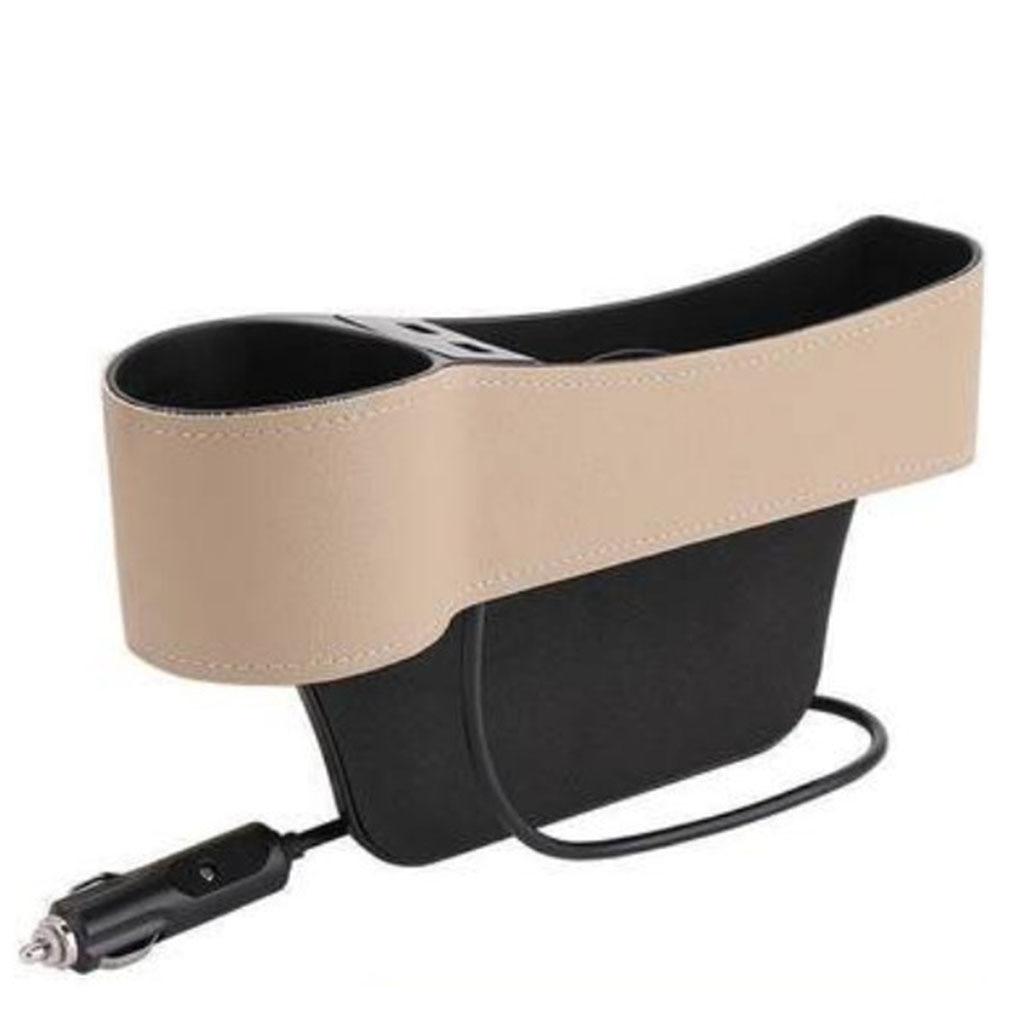 Organizador para hueco de asiento de coche, multifuncional con carga USB Dual, caja de almacenamiento para soporte de taza para conductor/pasajero