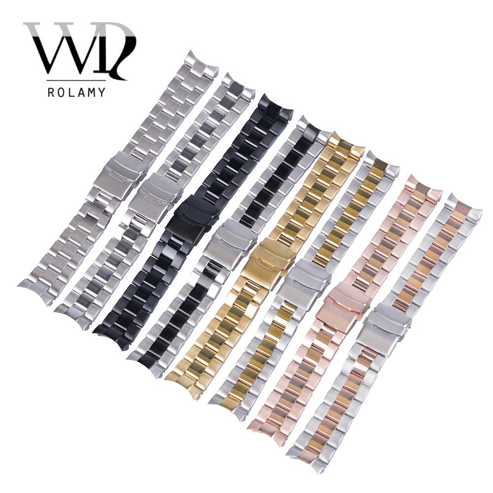 Браслет Rolamy для наручных часов из нержавеющей стали, 22 мм, сменный металлический браслет с двойной застежкой для Seiko
