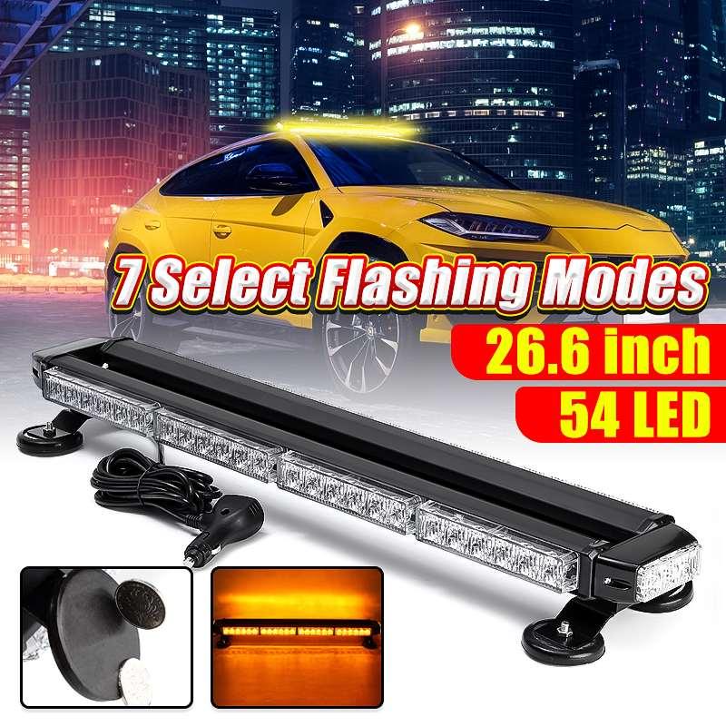 """26.6 """"54 LED barre de lumière stroboscopique Double côté avertissement stroboscopique voiture danger lumière balise de secours clignotant lampe ambre 7 modes clignotants"""