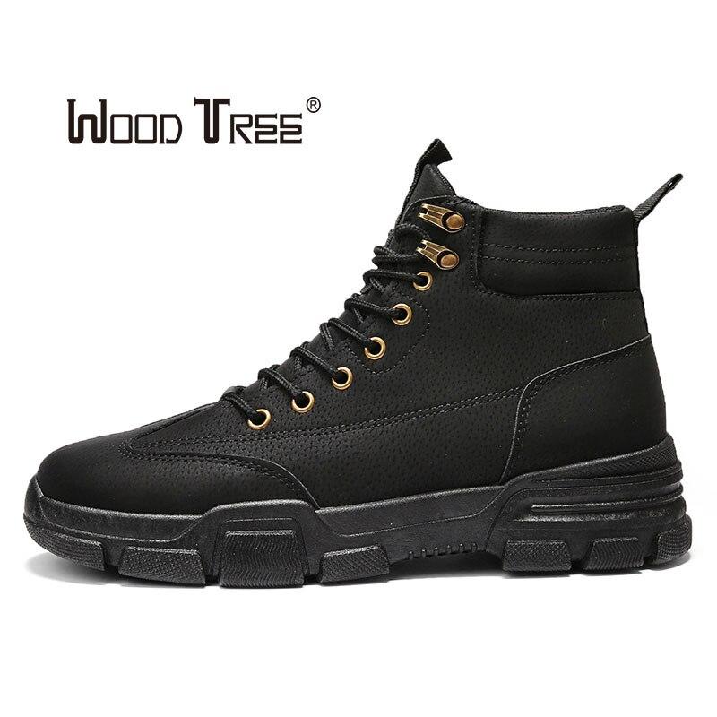 Zapatos de cuero Martin de hombres de madera alta moda invierno cálido nieve zapatos Dr. Motocicleta tobillo botas par Unisex doctor boo