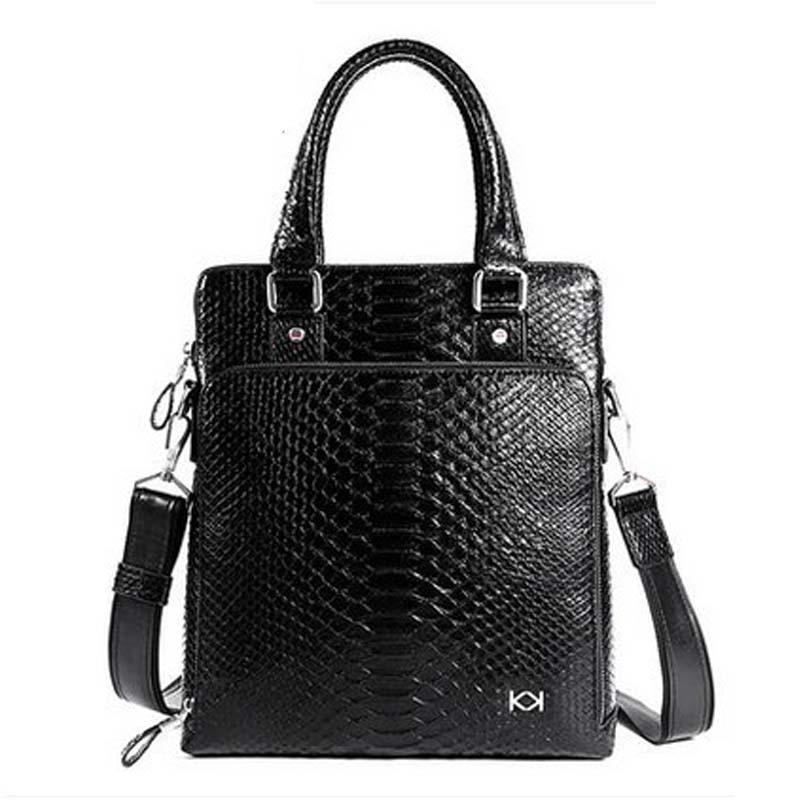 Kadiler import python leather men single shoulder bag Business snake leather men handbags male briefcase handbag