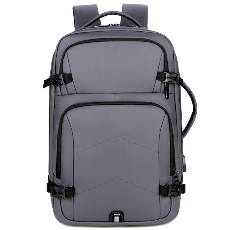 حقائب ظهر رجالي متعددة الوظائف مقاومة للماء حقيبة ظهر للكمبيوتر المحمول حقيبة ظهر بشحن USB يمكن ارتداؤها للرجال