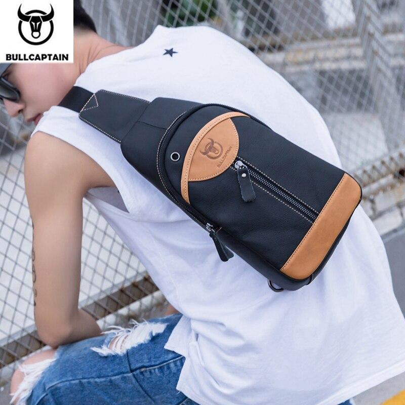 BULLCAPTAIN 2019 pequeño bolso bandolera de marca para hombre, bolso de hombro para hombre, bolsos bandolera de cuero genuino de moda