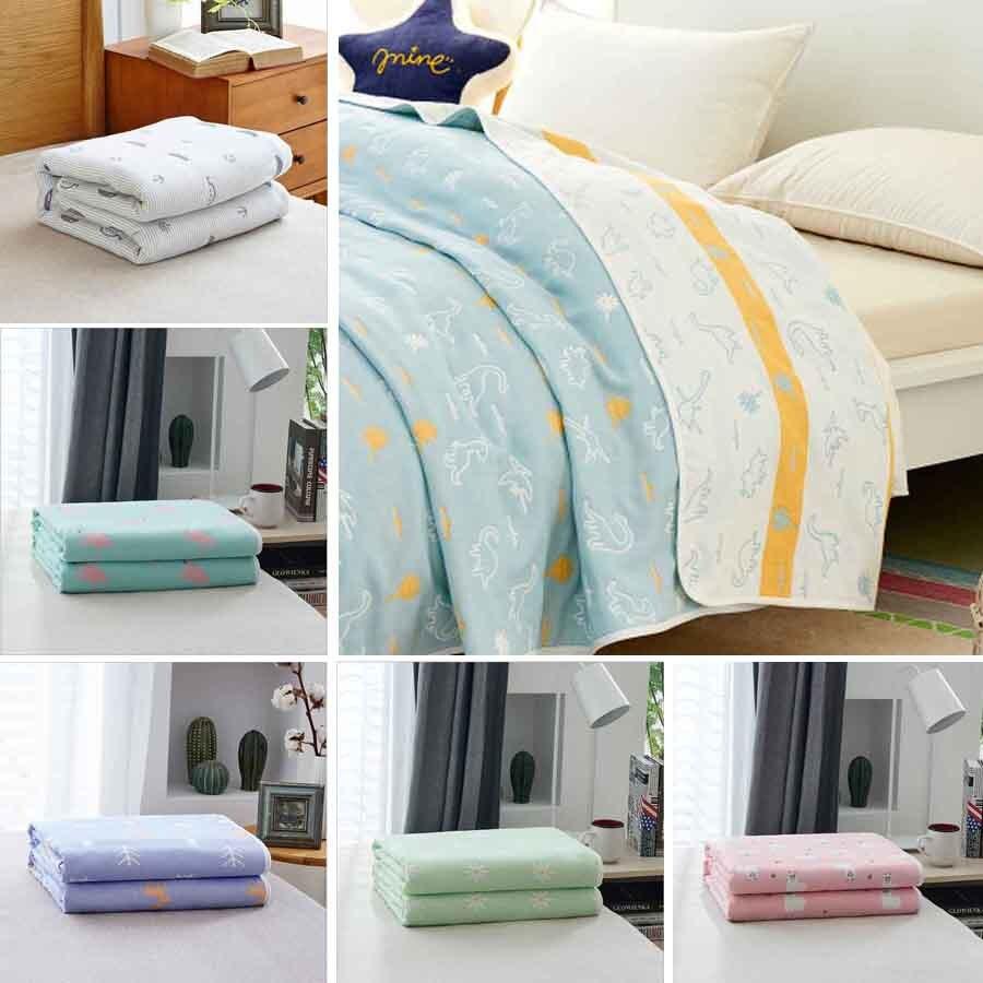 WOSTAR, toalla de gasa de algodón 100%, manta de muselina, 6 capas, mantas de cubierta de cama para adultos en el/cama/sofá/avión/colcha de viaje