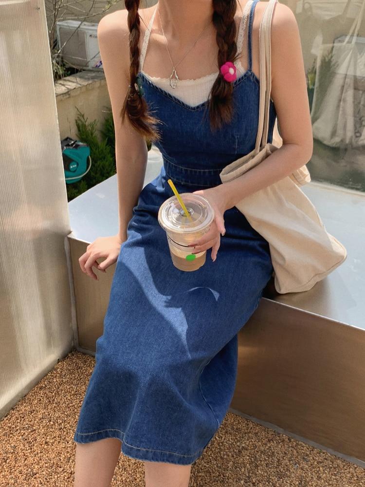 CMAZ 2021 Summer strap dress for women denim long dress 4286#