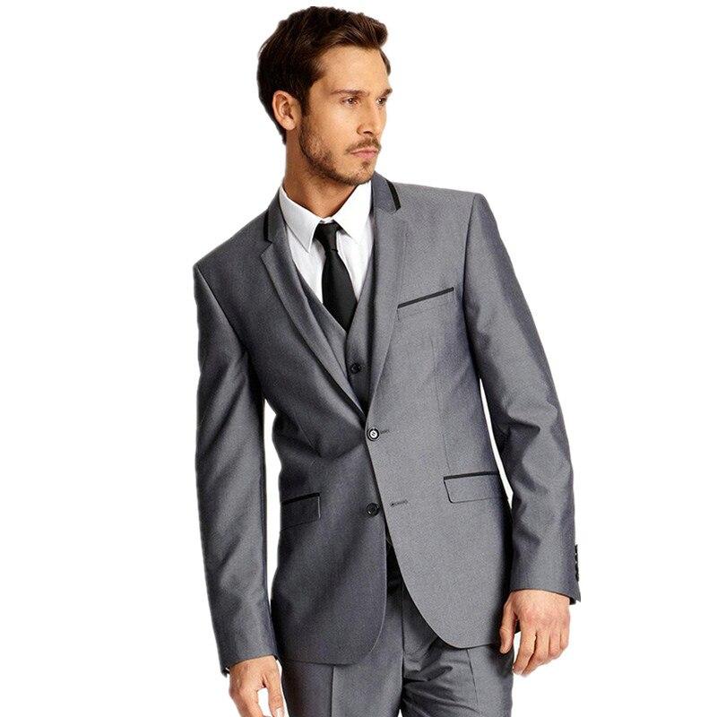بدلات زفاف رجالية عالية الجودة ، بدلات غير رسمية مع طية صدر السترة ، توكسيدو زفاف ، بدلات عمل للرجال (جاكيت + سترة سروال)