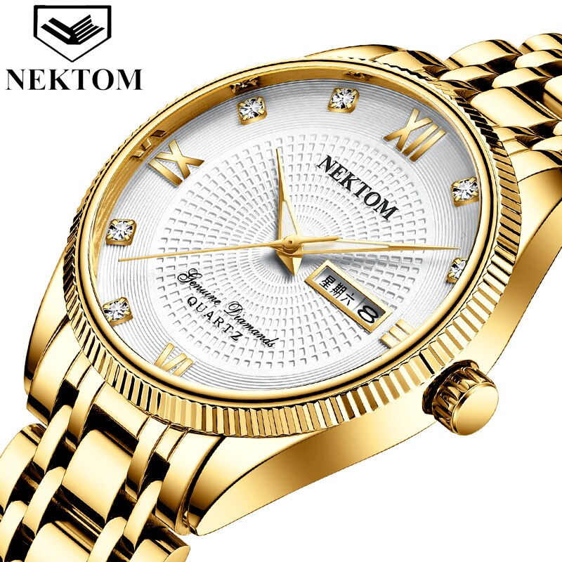 Reloj de hombre de marca de lujo de negocios de hombre, reloj de cuarzo de acero inoxidable, reloj cronógrafo de moda para hombre NEKTOM Masculino