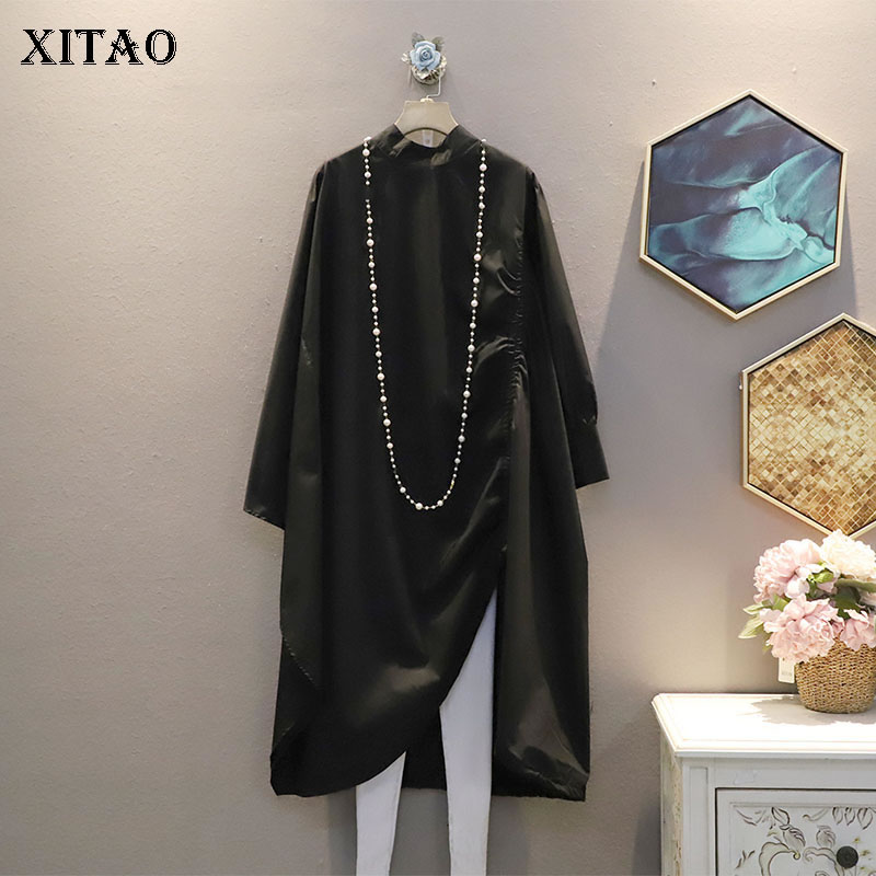 XITAO Irregular Pleated Dress Fashion New Women Drawstring Hem Small Fresh Casual Style Minority 2021 Spring Autumn DZL2655