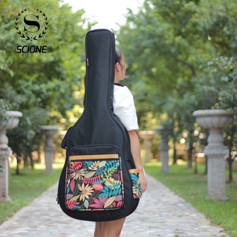 41 Inch Print Guitar Case Waterproof  Acoustic Folk Guitar Bag Backpack 600D Oxford Guitar Gig Bag Cover With Shoulder Straps trumpet gig bag box case backpack 600d water resistant oxford cloth with adjustable dual shoulder strap new arrival
