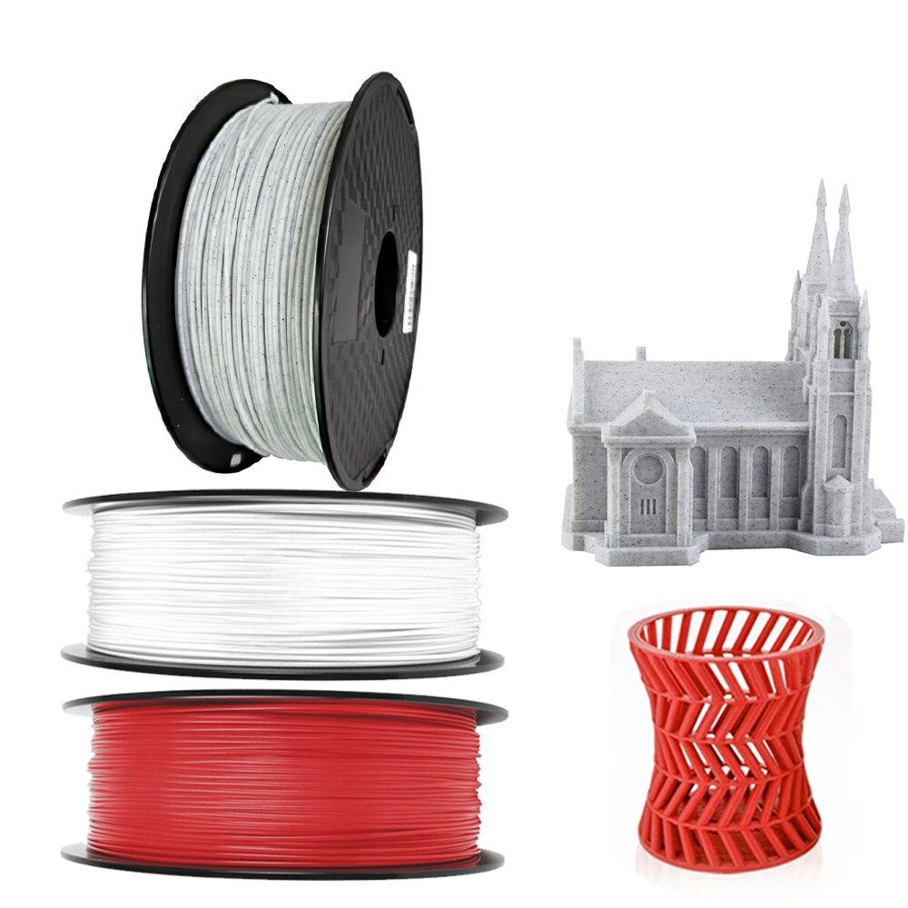 Pla 1000 جرام رخامي خيوط طابعة ثلاثية الأبعاد PLA 1.75 مللي متر 1 كجم حجر أحمر أبيض خيوط البرازيل بيع خاص مستودع محلي شحن سريع