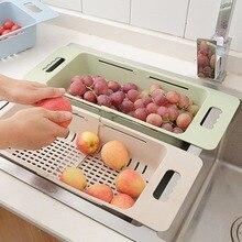 متعددة الوظائف بالوعة استنزاف رف قابل للسحب صندوق تخزين الخضروات سلة طبق تجفيف حامل مُنظِم مصفاة مطبخ