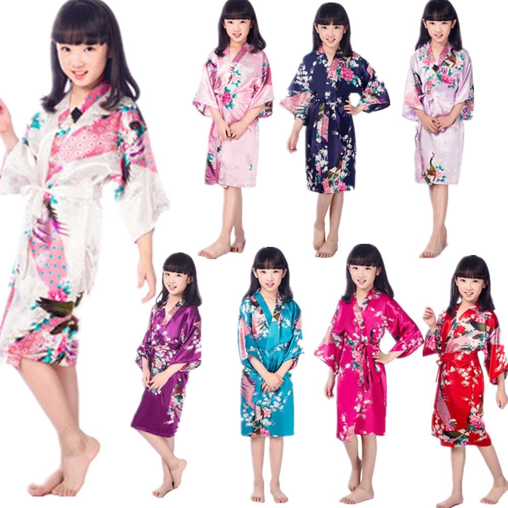 Wholesale Child's Satin Kimono Robes for Girls Kids Floral Sleepwear Peacock Flower Robe for Spa Wedding Birthday Nightgown