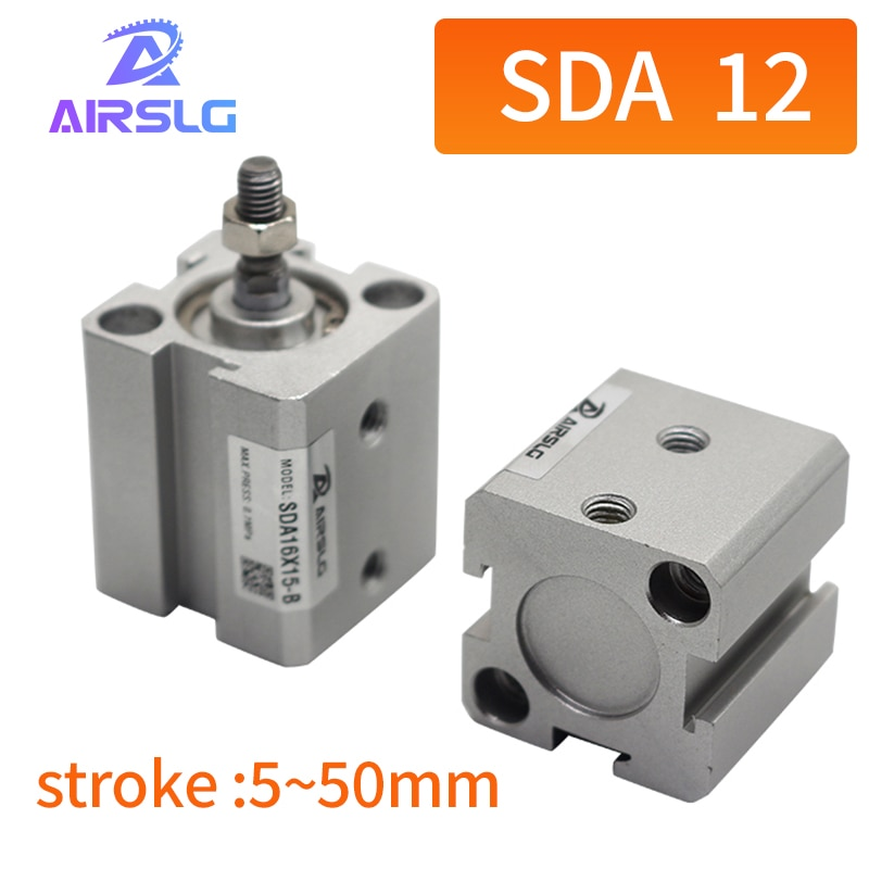 Фото - AIRTAC Type SDA SDA12 -5-10-15-20-25-30-35-40-45-50-S-B Air pneumatic cylinder double acting compact cylinder female/male thread air cylinder sda series male thread pneumatic compact airtac type 16 20 25 32 40 50 63mm bore to 5 10 15 20 25 30 35 40 45 50mm