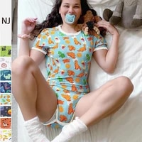 2021 new pajamas for women bodysuit shorts romper open snap crotch pajama for teen girls sexy jumpsuit lover adult onesies onsie