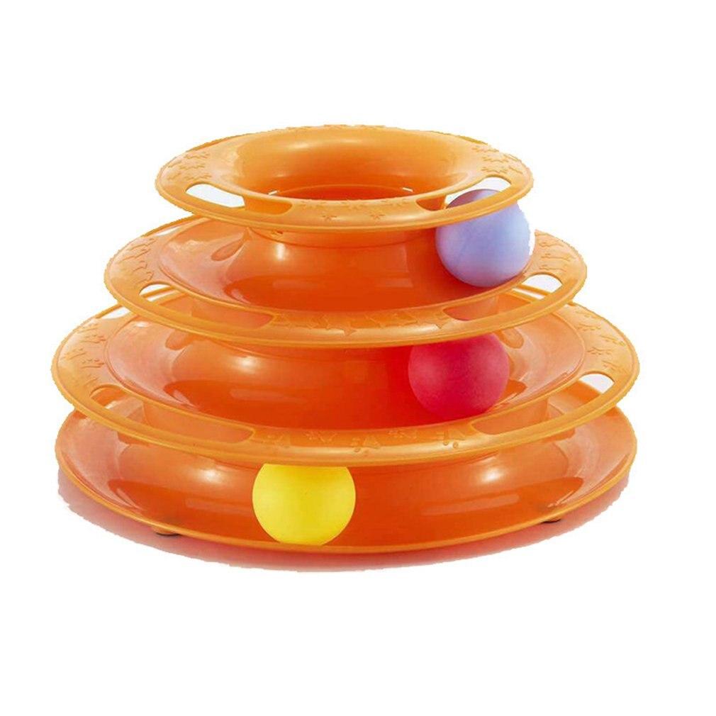 Juguete de gato de tres capas de mesa giratoria torre de pista de atracciones divertido gato pista Bola de plástico antideslizante juguete de gato duradero
