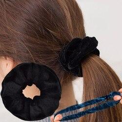 1/5 pçs sólida senhora veludo cabelo scrunchies anel feminino meninas elástico faixas de cabelo para mulheres menina rabo de cavalo suportes de borracha banda laços