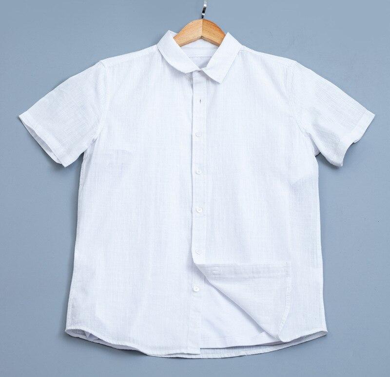 الكتان التلبيب لون نقي الترفيه الرجال الصيف قصيرة الأكمام قميص القطن و الكتان اليابانية قميص