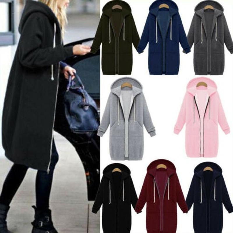 Женская осенне-зимняя толстовка на молнии с капюшоном, Женская толстовка с длинным рукавом, повседневный джемпер, пальто, куртка, тренчкот, ...