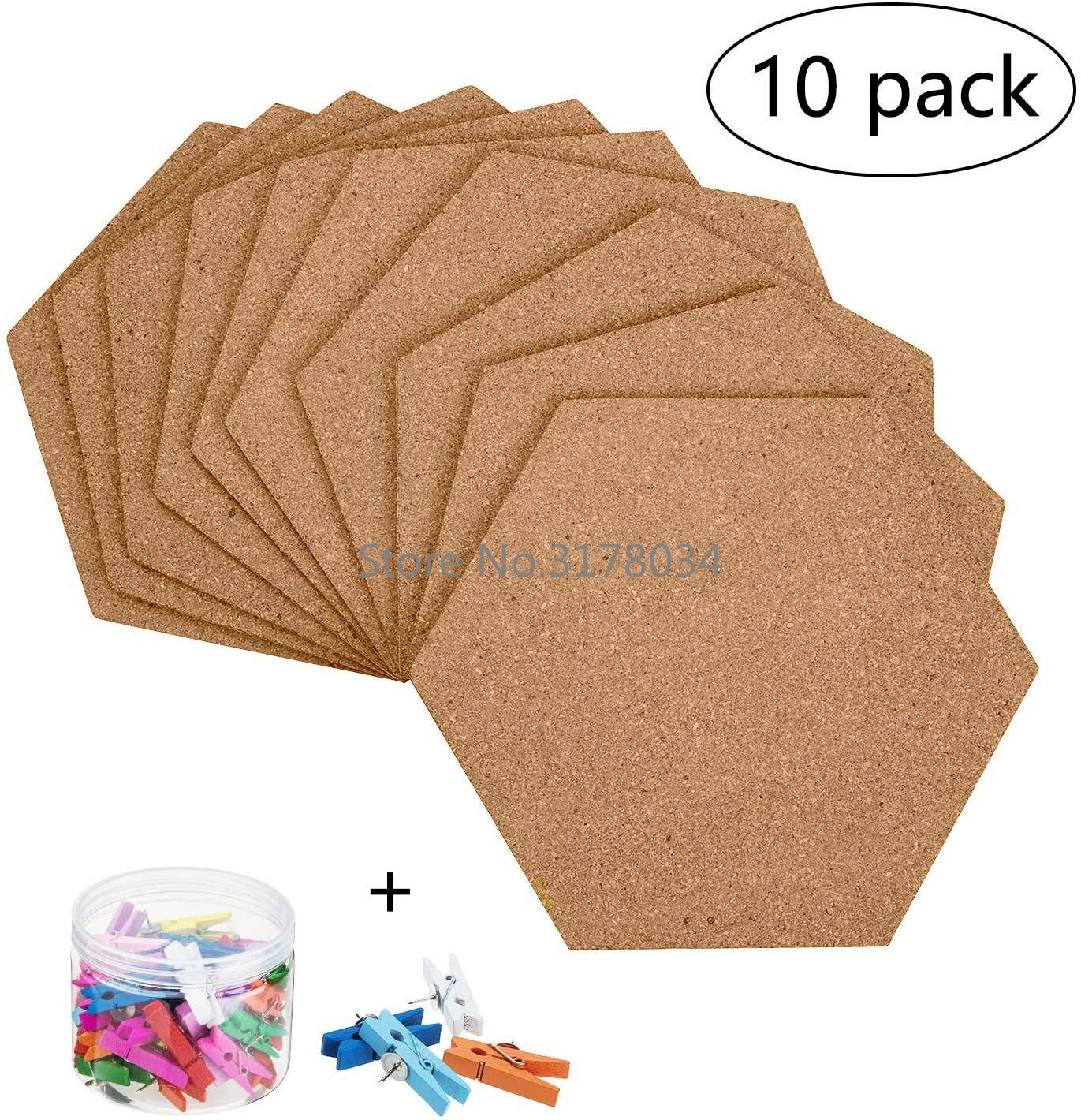 Self-Adhesive Cork Board Tiles Office Home Wood Photo Background Hexagon Stickers Wall Message Drawing Bulletin Boards