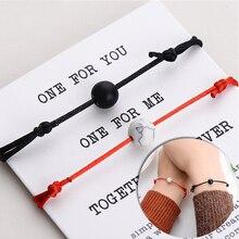 Fashion Natural Stone Couple Bracelet 2pcs/set Lover Bead Bracelet Red String Braided Bracelets for Men Women Friendship Jewelry
