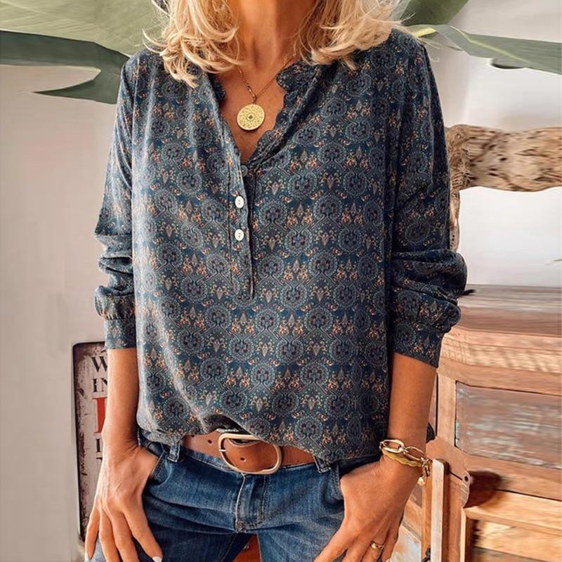 Plus Size 5Xl Women Blouse Vintage Shirts Print Elegant V-Neck Loose Long Sleeve Casual Fashion Top 2021 New Shirt Femme Blusas