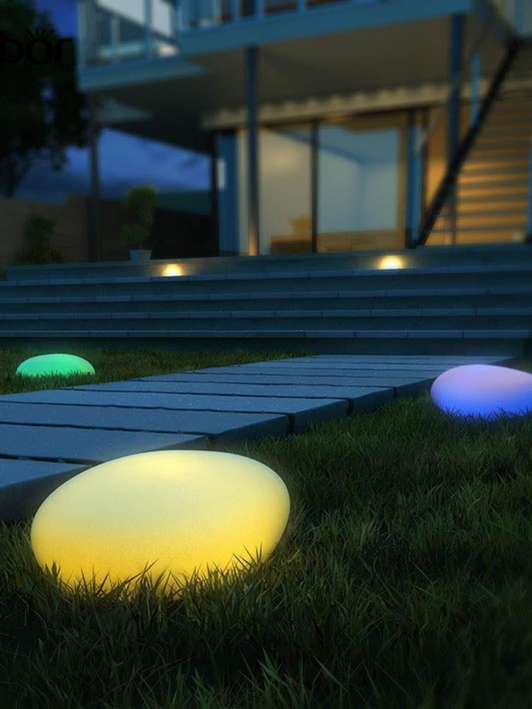 Solar Garden Lights, Glow Cobble Stone Shape Outdoor Solar Light Waterproof Color Changing Landscape Lights with Remote, 1 Pack enlarge