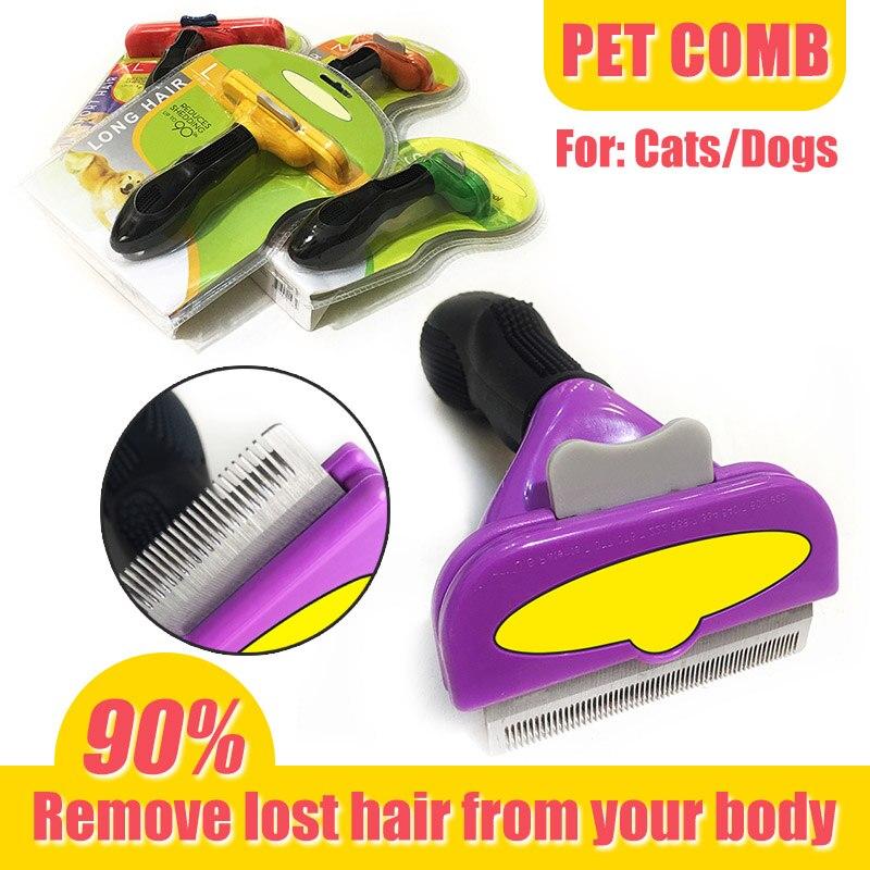 Pet cabelo derramamento pente de aço inoxidável ancinho pente cão gato escova grooming ferramenta remoção do cabelo pente para pequeno médio grandes cães gatos