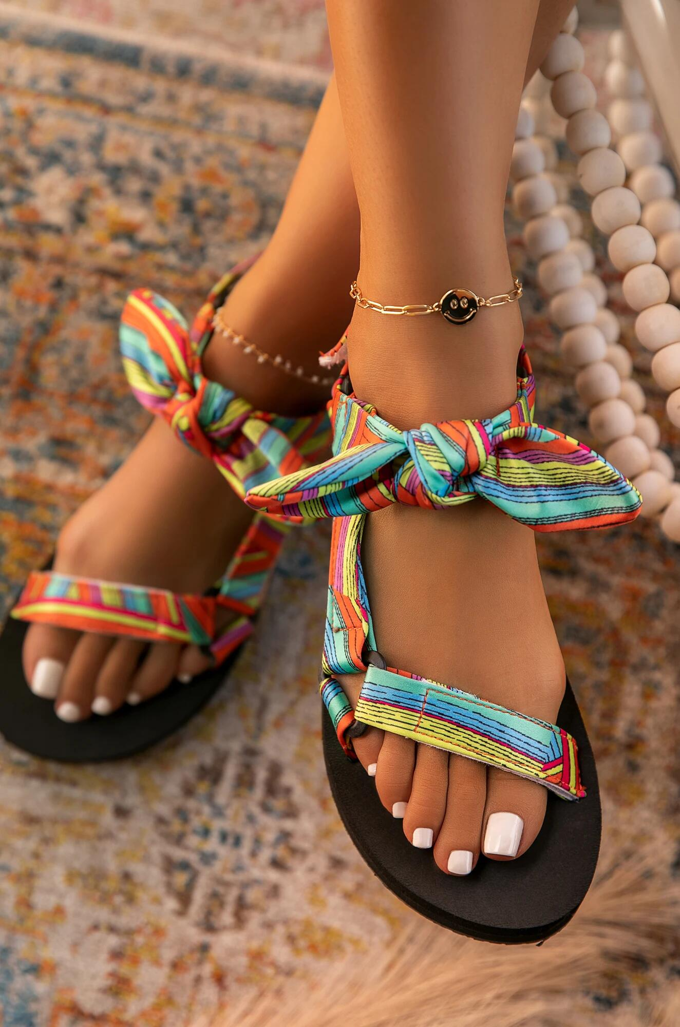 New Women Sandals Color Flat Casual Lace Up Bow Shoes for Ladies Summer Fashion 2021 Outdoor Leopard