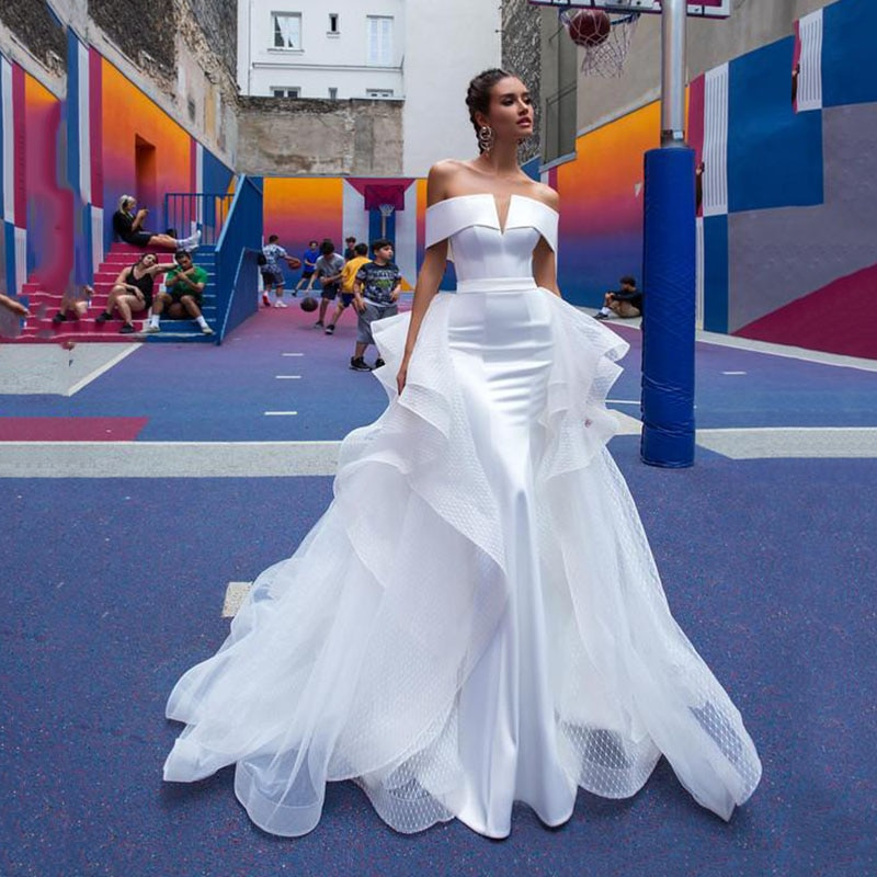 Mermaid Wedding Dresses With Detachable Skirt Off The Shoulder Satin Bridal Gowns White Wedding Dress vestido de noiva
