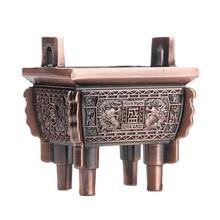 Antique Bronze ornement Unique porte-brûleur dencens encens cendrier plateau (5.4x5cm)