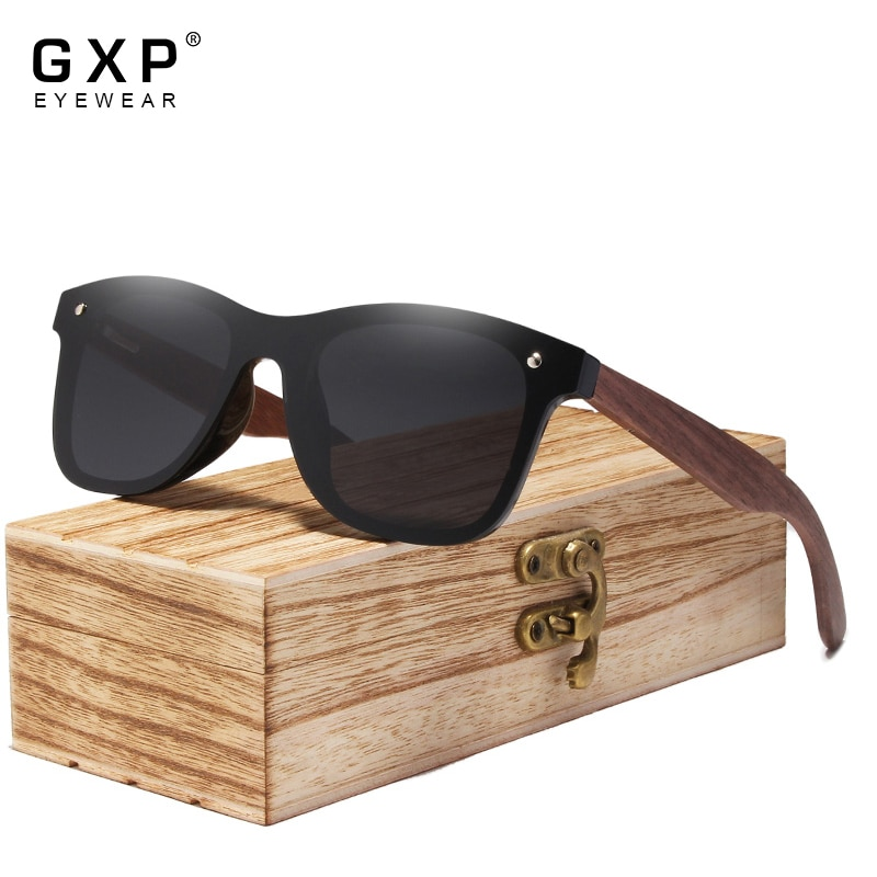 GXP Fashion Men Handmade Rimless Polarized Natural Walnut Wooden Sunglasses Mirror UV400 Eyewear Wom