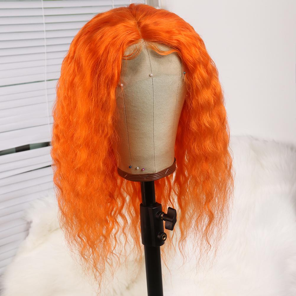 Light Orange Hair Wig Queen Wig Brazilian Deep Curly Hair Remy Human Hair Wig 180 Density