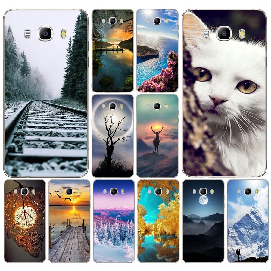 162DD montañas bambú ciervo mar gato naturaleza vista funda para Samsung Galaxy a3 a5 2017 A6 A8 2018 j3 j5 j7 2016, 2017