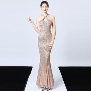 Evening Dresses Halter Neck Sequins Zipper Back Sleeveless Mermaid Floor-length Plus size Customized Woman Formal Dress R1174