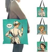 Сумка через плечо с уникальным рисунком, Bolso Mujer, рисунок медсестры, эко лен, практичная сумка для повседневного использования, для работы, пу...