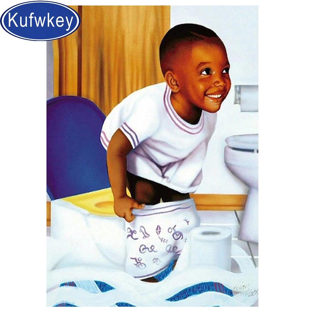 Conjunto de diamantes redondos bordados africanos para niños, pintura de diamantes de baño, Cuadrado 5D a mano, imagen de regalo 3d, diamantes de imitación, decoración de WC
